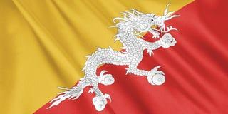 Drapeau du Bhutan ondulant avec le vent, format large Images stock