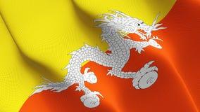 Drapeau du Bhutan ondulant sur le vent illustration de vecteur