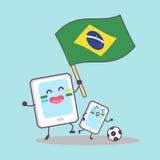 Drapeau du Brésil avec le téléphone portable illustration stock