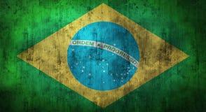 Drapeau du Brésil chiffonné par grunge rendu 3d Photos stock