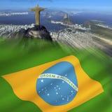 Drapeau du Brésil - le Rio de Janeiro photographie stock libre de droits