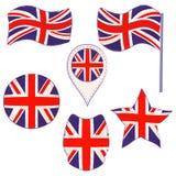Drapeau du BRITANNIQUE exécuté dans des formes de Defferent illustration stock