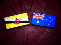 Drapeau du Brunei avec le drapeau australien sur un tronçon d'arbre d'isolement photographie stock libre de droits