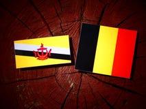 Drapeau du Brunei avec le drapeau belge sur un tronçon d'arbre d'isolement photo stock