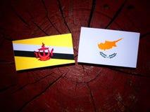 Drapeau du Brunei avec le drapeau chypriote sur un tronçon d'arbre d'isolement photos stock