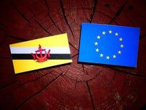 Drapeau du Brunei avec le drapeau d'UE sur un tronçon d'arbre d'isolement photographie stock