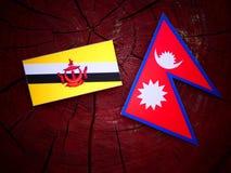 Drapeau du Brunei avec le drapeau de Nepali sur un tronçon d'arbre d'isolement images stock