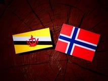 Drapeau du Brunei avec le drapeau norvégien sur un tronçon d'arbre d'isolement photos stock
