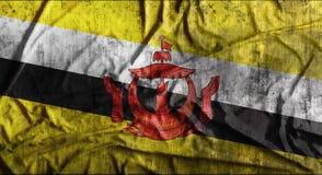 Drapeau du Brunei chiffonné par grunge rendu 3d Images libres de droits