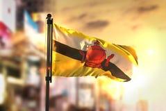 Drapeau du Brunei sur le fond brouillé par ville au contre-jour de lever de soleil image stock