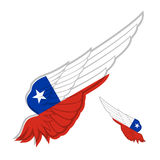 Drapeau du Chili sur l'aile abstraite et le fond blanc Illu de vecteur Photos stock