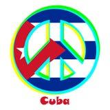 Drapeau du Cuba comme signe du pacifisme illustration libre de droits