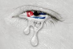 Drapeau du Cuba dans l'oeil pleurant Photos libres de droits