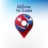 Drapeau du Cuba dans la forme de l'indicateur de carte Accueil vers le Cuba Illustration de vecteur illustration libre de droits