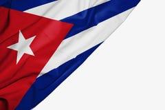 Drapeau du Cuba de tissu avec le copyspace pour votre texte sur le fond blanc illustration de vecteur