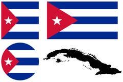 Drapeau du Cuba et carte - république de Cuba illustration stock