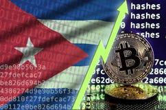 Drapeau du Cuba et flèche verte en hausse sur l'écran de extraction de bitcoin et deux bitcoins d'or physiques illustration stock