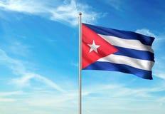 Drapeau du Cuba ondulant avec le ciel sur l'illustration 3d réaliste de fond illustration stock