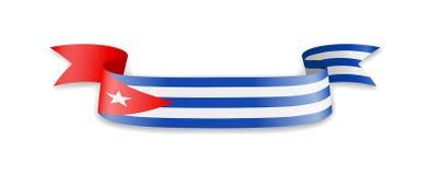 Drapeau du Cuba sous forme de ruban de vague Photos stock