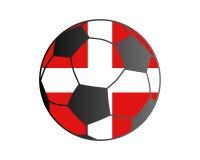 Drapeau du Danemark et du ballon de football Photographie stock