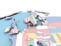 Drapeau du Danemark sur le globe lumineux Photographie stock libre de droits