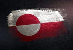 Drapeau du Groenland fait de peinture métallique de brosse sur le mur foncé grunge illustration stock