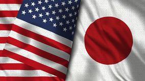 Drapeau du Japon et des Etats-Unis - 3D drapeau de l'illustration deux illustration libre de droits