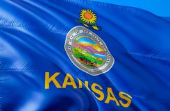 Drapeau du Kansas 3D ondulant la conception de drapeau d'état des Etats-Unis Le symbole national des USA de l'état du Kansas, ren photo stock