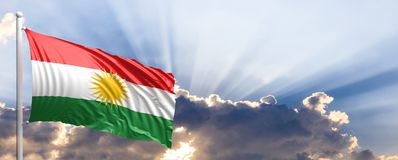 Drapeau du Kurdistan sur le ciel bleu illustration 3D Photo libre de droits