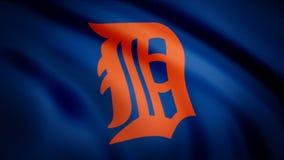 Drapeau du logo professionnel américain d'équipe de baseball de Detroit Tigers de base-ball, boucle sans couture Animation éditor illustration de vecteur