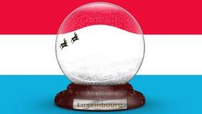 Drapeau du Luxembourg sur le globe de neige banque de vidéos
