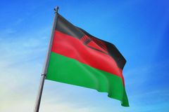 Drapeau du Malawi ondulant sur l'illustration du ciel bleu 3D illustration libre de droits