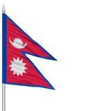 Drapeau du Népal sur le mât de drapeau Images libres de droits