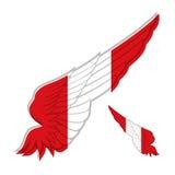 Drapeau du Pérou sur l'aile abstraite et le fond blanc Illus de vecteur Image libre de droits