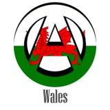 Drapeau du Pays de Galles du monde sous forme de signe d'anarchie illustration libre de droits