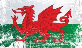 Drapeau du Pays de Galles, Royaume-Uni Taches sales froissées illustration libre de droits