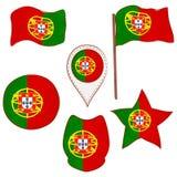 Drapeau du Portugal exécuté dans des formes de Defferent illustration stock