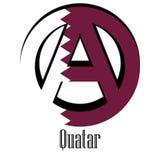 Drapeau du Qatar du monde sous forme de signe d'anarchie illustration de vecteur
