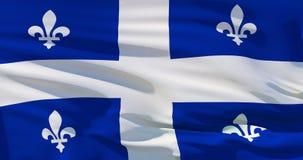 Drapeau du Québec, Canada, sur le fond en soie de texture Illustration de la qualité 3D illustration libre de droits