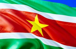 Drapeau du Surinam conception de ondulation du drapeau 3D Le symbole national du Surinam, rendu 3D Couleurs nationales et l'Améri image libre de droits