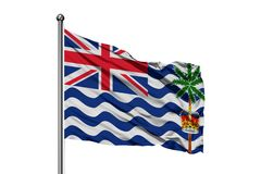 Drapeau du territoire d'Océan Indien britannique ondulant dans le vent, fond blanc d'isolement photographie stock libre de droits