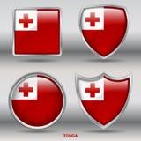 Drapeau du Tonga dans la collection de 4 formes avec le chemin de coupure Photographie stock libre de droits