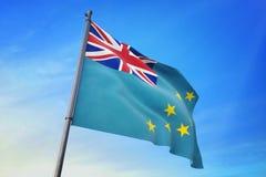Drapeau du Tuvalu ondulant sur l'illustration du ciel bleu 3D illustration de vecteur