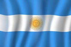 Drapeau du vecteur 3D de symbole national de l'Argentine illustration de vecteur