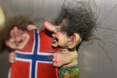 Drapeau effrayant de poupées d'aimants de souvenir de Norvegian photo libre de droits