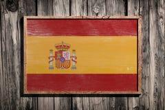 Drapeau en bois de l'Espagne Images stock