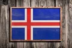 Drapeau en bois de l'Islande Photographie stock