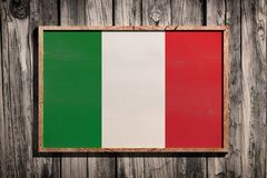 Drapeau en bois de l'Italie Photo stock