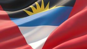 Drapeau en gros plan fortement détaillé ondulé de l'Antigua-et-Barbuda illustration 3D illustration de vecteur