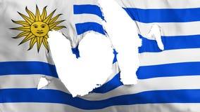 Drapeau en lambeaux de l'Uruguay illustration libre de droits